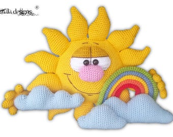 sun and rainbow - crochet pattern by mala designs