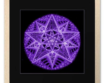 Stardust Planet, Poster, Christmas Star Mandala, Freehand Drawing, Spiritual, Psychedelic, Psy Art Print, Room Decor, Wall Art, Purple Glow