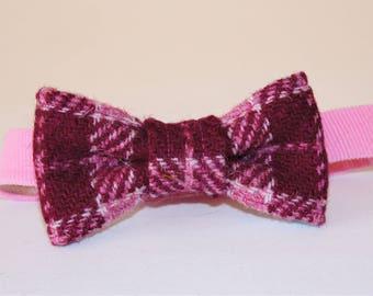 Pink Check Harris Tweed Toddler Bow Tie