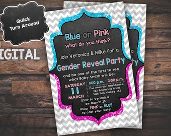 Gender Reveal, gender reveal Invitation, Gender Reveal Party