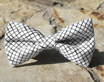 Black and White Square Bow Tie   Bow Tie for Men   For Him   Bowtie   Self Tie   Dog Bow Tie   Mens Bow Tie   Boys Bow Tie   Wedding Bow Men