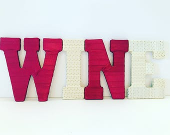Wine Home Decor, Wine Letters, Wine Kitchen Decor, Wine Gift Basket, Wine Lover Gift, Wine Gifts, Wine Wall Art, Wine Decoration