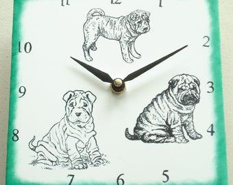 """Ceramic tile Shar Pei dog clock, 6"""" square, green border"""