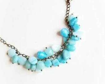 Sky blue bracelet Czech glass beads mix chain boho bracelet gift for her for Mom unique glass beads chain boho bracelet casual jewelry cuffs