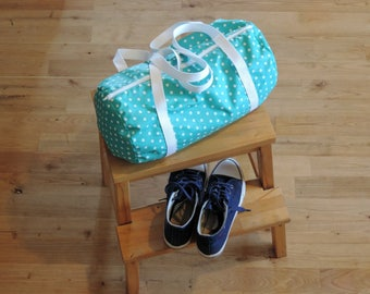 sports bag, boy and girl turquoise duffel bag