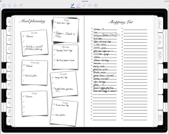 Meal planner page for use with The Busy Bee Planner, digital planner for GoodNotes on iPad or Xodo on Android
