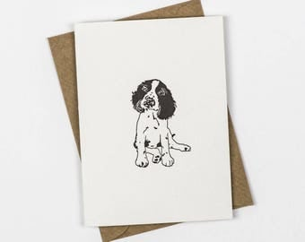 Springer Spaniel puppy card - Thank you cards - Letterpress note cards - Small note cards - working Dog card - Birthday Card