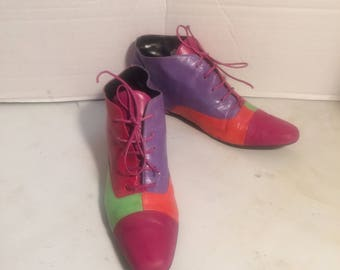 TIMONY sz 9 N vintage ankle boots,mix color leather flat ankle boots
