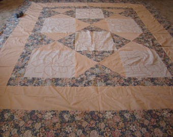 queen-king size quilt top-just top- you finish*hand embroidery blocks*pink,peach, lbue colors-93 by 107