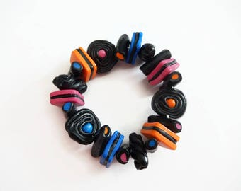 Bracelet elastic polymer clay licorice candy