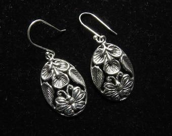 92.5 Sterling Silver  -  Fancy Design- Silver Earrings