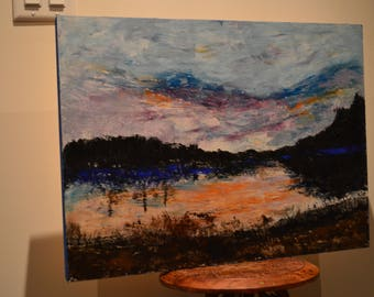 Cauchon Lake: Beeswax, dry pigments oil painting on a gallery style wooden panel ready for display