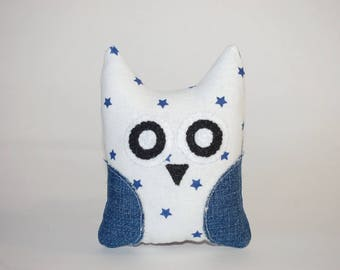 Handmade Small Owl Stuffed Animal/Pincushion Made from Reused, Recycled Fabrics