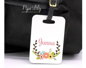 Personalized Luggage Tag Bridesmaids Gift Bag Tag Custom Luggage Tag Personalized Luggage Tag Floral Flowers Wedding Party Gift Idea
