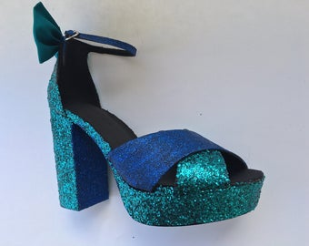 Blue glitter heels | Etsy