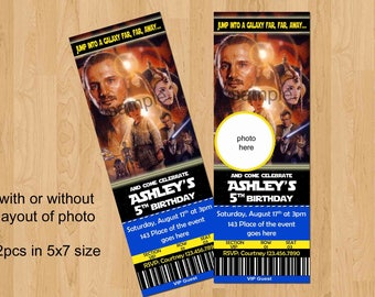 Star Wars Invitation. Star Wars Birthday Invitation, Ticket Style Invites. Digital (you print) With or Without Photo.