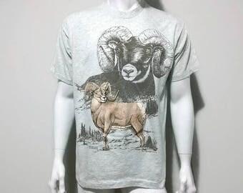 Vintage Animal Shirt Big Horned Sheep - 1994 - Color Grey - Size L/XL