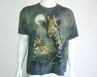 Vintage GiraffeT-Shirt Animal Shirt Acid Wash - Color Green - Size L