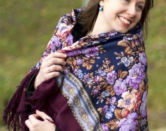 châle russe en laine 125 cm russian folk shawl wool Pavlovo Possad neuf