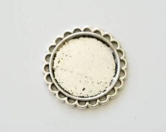 Support cabochon 20mm silver plated