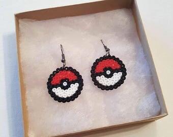 Pokemon inspired pokeball mini perler beads fish hook earrings