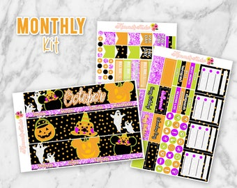 October Not So Scary Halloween Monthly Overview Planner Sticker kit for Erin Condren Life Planners