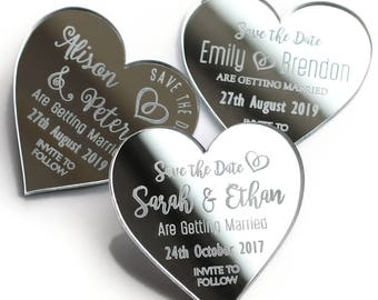 Save the date magnets, mirror save the date, acrylic wedding magnets, silver mirror, gold mirror, heart wedding magnet, custom save the date