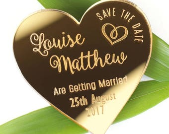 Save the date wedding magnets, mirror save the date, mirror wedding invites, gold mirror, heart wedding magnet, custom save the date