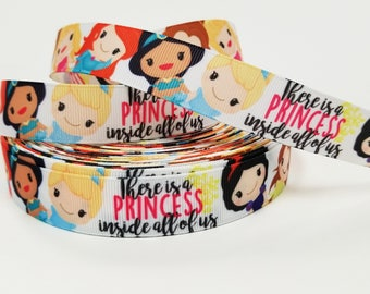 "7/8 "" inch There is a PRINCESS inside all of us - Princess Fairy Tail - Printed Grosgrain Ribbon for 7/8 inch  Hair Bow"