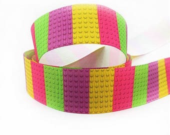 1 inch Colorful Toy Blocks PInk green purple yellow -  Printed Grosgrain Ribbon for Hair Bow