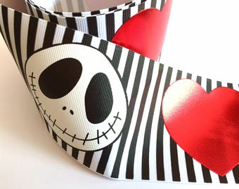 3 inch Love Halloween Black White Stripe Red Heart Printed Grosgrain Ribbon Cheer Hair Bow - 3""