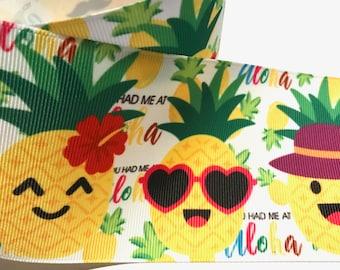 "3 inch Pineapple You had me at Aloha Tropical Cute Printed Grosgrain Ribbon Cheer Hair Bow - 3"""