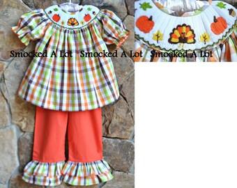Smocked girls ruffled pants set outfit Thanksgiving pumpkin turkey orange brown green dress Fall