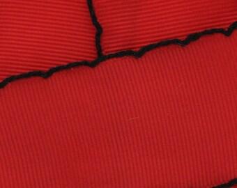 """1.5"""" Red/Black Moonstitch Grosgrain Ribbon  - Choose 5yd or 10yd"""