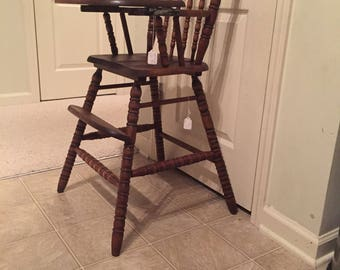 Fully Refinished Vintage Wooden High Chair, Jenny Lind, Antique High Chair,  Vintage High