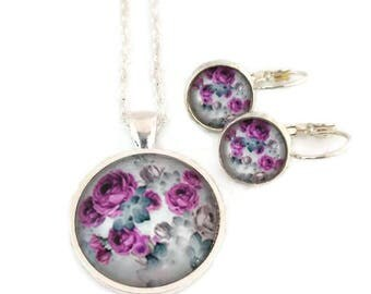 Flowers earring and necklace