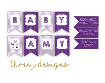 Butterfly Baby Shower Personalized Baby Banner - Plum and Lavender - Digital File - J004