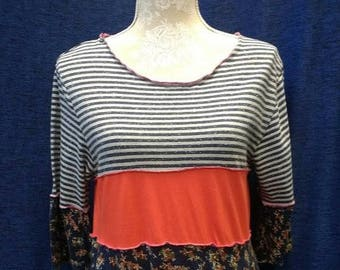 Ladies upcycled tunic/tshirt/dress stripes and floral size 14