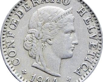 1944 20 Rappen Switzerland Coin