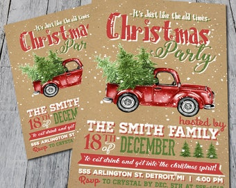 Vintage Pick Up Truck Christmas Party Invite (Digital)