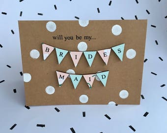 Will you be my bridesmaid kraft vintage floral bunting wedding card - handmade and totally unique.