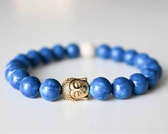 Bracelet, blue fossil stone, buddha charm