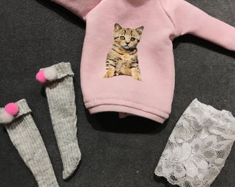 Happy Pet-lounge set for Blythe, licca & pure neemo, kitten sweater, short socks