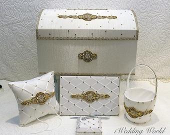 wedding card box, wedding accessories, gold wedding decoration, wedding card holder, ring pillow, guest book, flower girl basket