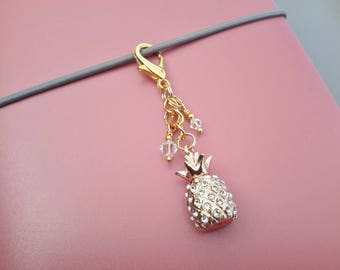 Crystal Pineapple Planner Charm Gold Tone Metal Pineapple Charm Midori Travelers Notebook Clip On Charm Planner Accessories Teen Girl Gift