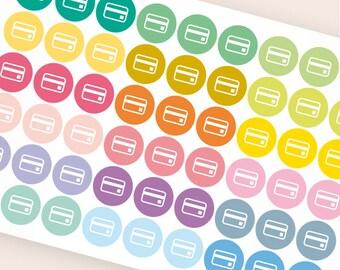 Repositionable credit card sticker, bill due sticker, finance planner stickers, budget money eclp filofax happy planner kikkik
