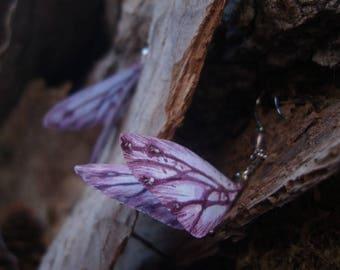 Wings earrings, fairy earrings, butterflies earrings, moths earrings, silk earrings, purple, fairy, fluorite, gemstone - Fairy's Wings
