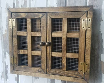 Rustic Cabinet {XSmall}  Essential Oils, Young Living, Doterra, Nail Polish, Makeup, Spice Rack, WIre, Shelf