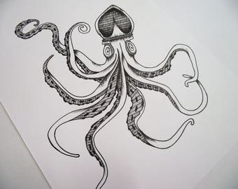 A4 White Squid Illustration