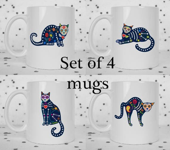 Set of 4 sugar skull cat mugs